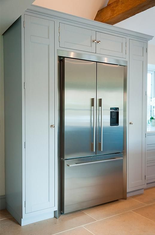 This Soft Blue Fridge Unit Helps Fill The Space Of A Wonderful Double Height Kitche Interior Design Kitchen Small Kitchen Styling Open Plan Kitchen Living Room
