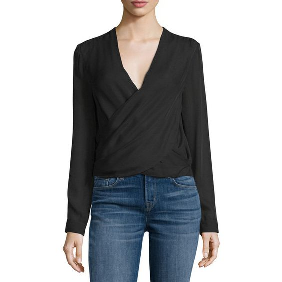 L'Agence Gia Long-Sleeve Silk Wrap Blouse ($345) ❤ liked on ...