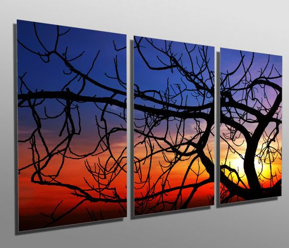 Hey, I found this really awesome Etsy listing at https://www.etsy.com/listing/256167724/metal-print-tree-fig-at-sunset-3-panel