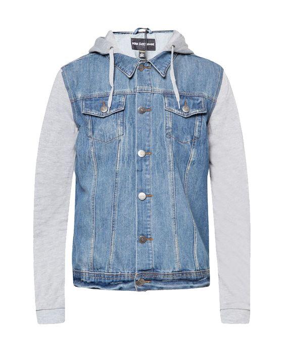 Denim Fleece Hoodie by Factorie. Denim jacket with mix material ...