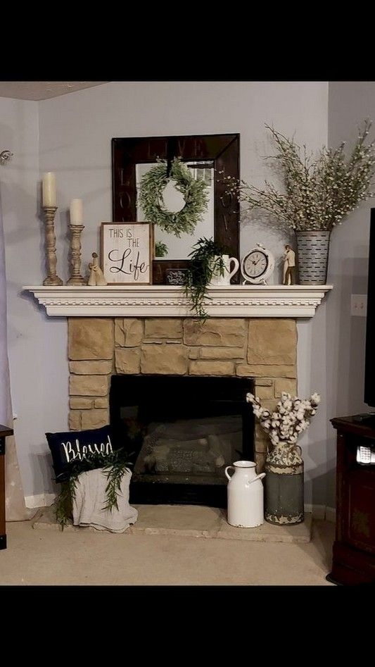 63 Genius Fireplace Makeover Design Ideas 20 Alvazz Com In 2020 Fireplace Mantle Decor Fireplace Mantel Decor Farm House Living Room