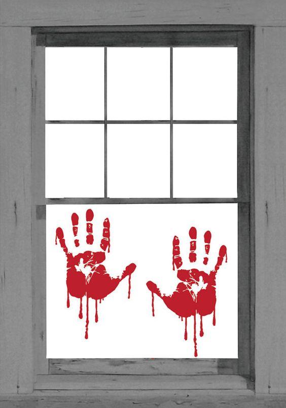 bloody handprint window vinyl