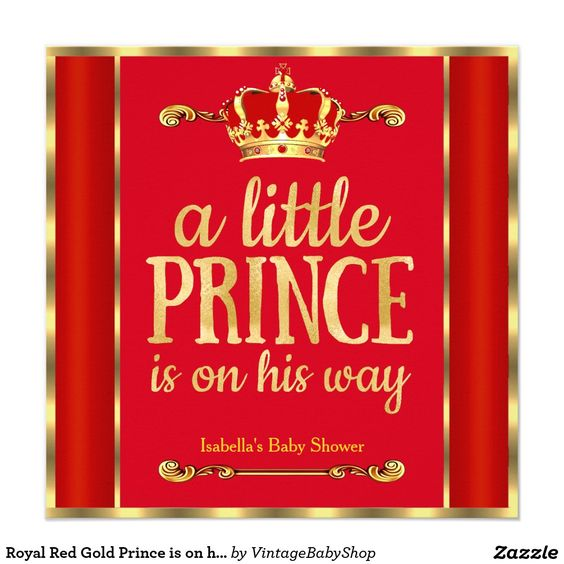 red gold prince is on his way baby shower invitation prince baby
