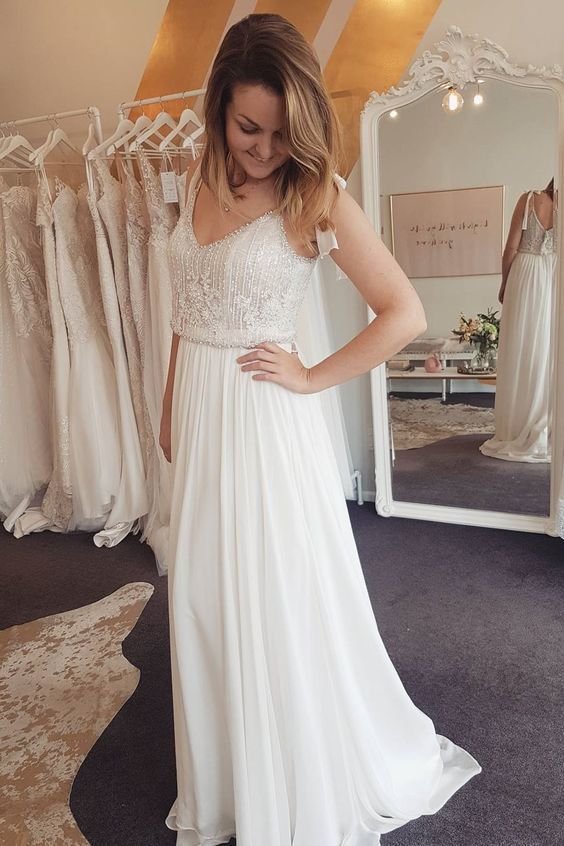 A Line Straps Long Chiffon Beach Wedding Dress With Beading By