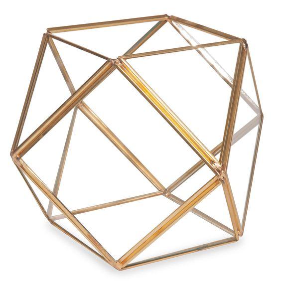 Terrarium aus Metall und Glas H 12 cm FACETTES