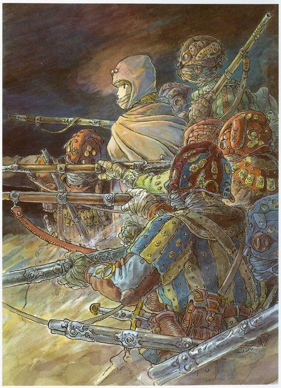 戦争をしているナウシカのイラスト