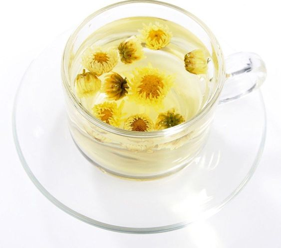 Chrysanthemum Tea, trà cúc, made from tisane (white or yellow chrysanthemum blossoms)