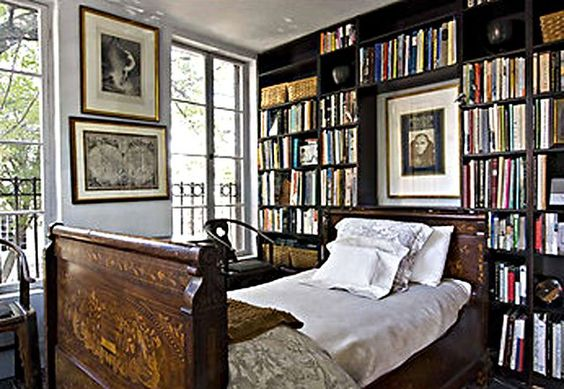 TheFullerView inspiration for black book cases, teen boy's bookcase headboard, and bedroom