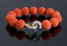 Carved Coral Bead & Diamond Bracelet, Cartier