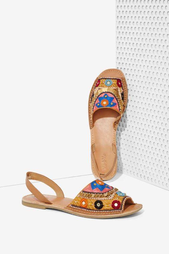 Vis-à-Vis Brock Beaded Leather Sandal   Shop Shoes at Nasty Gal!