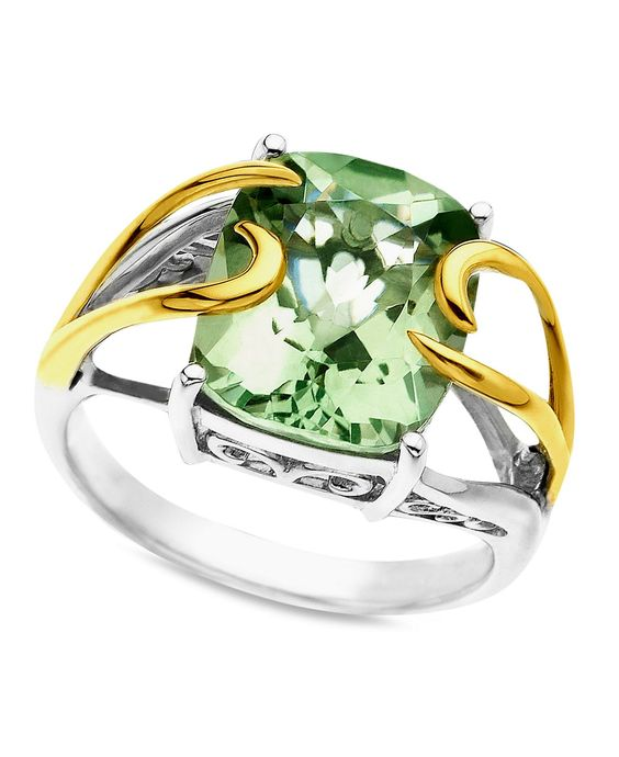14k Gold and Sterling Silver Ring, Green Quartz (4-3/4 ct. t.w.) - Rings - Jewelry & Watches - Macy's