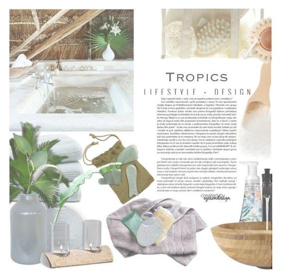 """lifestyle & design ~ tropical bath"" by eyesondesign ❤ liked on Polyvore featuring interior, interiors, interior design, home, home decor, interior decorating, Rosa Maria, TastemastersDesignGroup and interiorsbyeyesondesign"