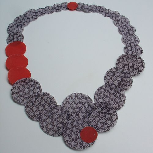 PAULA RODRIGUES-PT,portugal  Necklace: Cinco pontos 2012  Printed tracing paper 200g, plastic