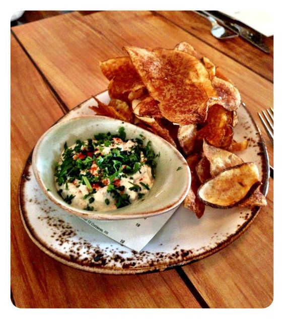 Chef Zoi's special house made clam dip and potato chips...t-minus 7 days until the official opening of Westward and Little Gull Grocery. (9.03.13)