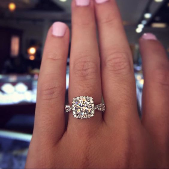 Princess cut, diamond halo, twisted diamond band perfect In love: