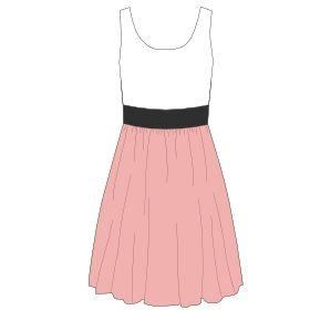 Une robe à confectionner à partir d'un débardeur auquel on rajoute des rectangles de jersey pour la ceinture et la jupe.  Tissu : jersey