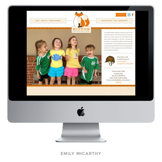 Emily McCarthy Branding Design | Kitfox Pediatric Dentistry Custom Website Design