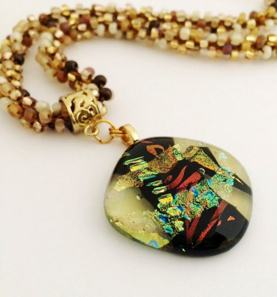 Gorgeous Dichroic Pendant in Gold Rust and Green by 3DGlassDesigns