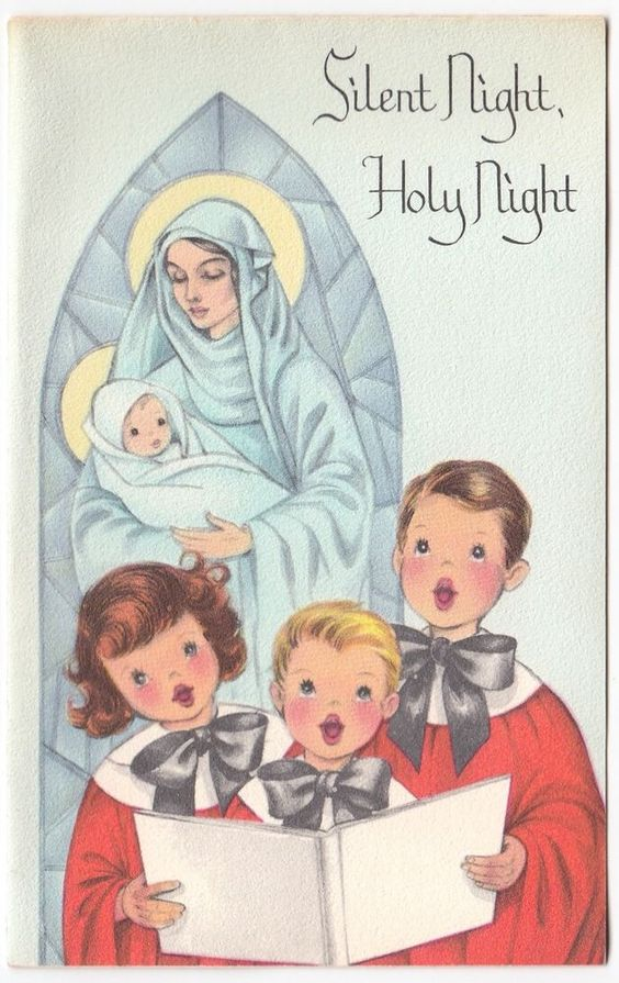 Vintage Greeting Card Christmas Choir Boys Mary Baby Jesus Madonna & Child a741