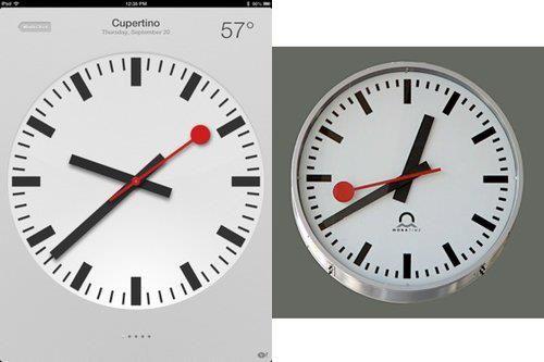 Le nouveau modèle d'horloge introduit par Apple sur iOS 6 pour iPad est accusé par les Chemins de fer fédéraux suisses (CFF) de copier son propre modèle d'horloge, utilisé dans ses gares.