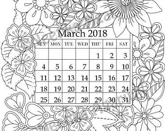 March 2018 Coloring Page Calender Planner Doodle Flowers Instant Download Printable Digital Download Only Coloring Pages Coloring Books Calender