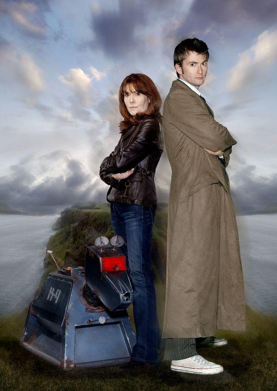 K9, Sarah Jane Smith (Elisabeth Sladen) and the tenth Doctor (David Tennant)
