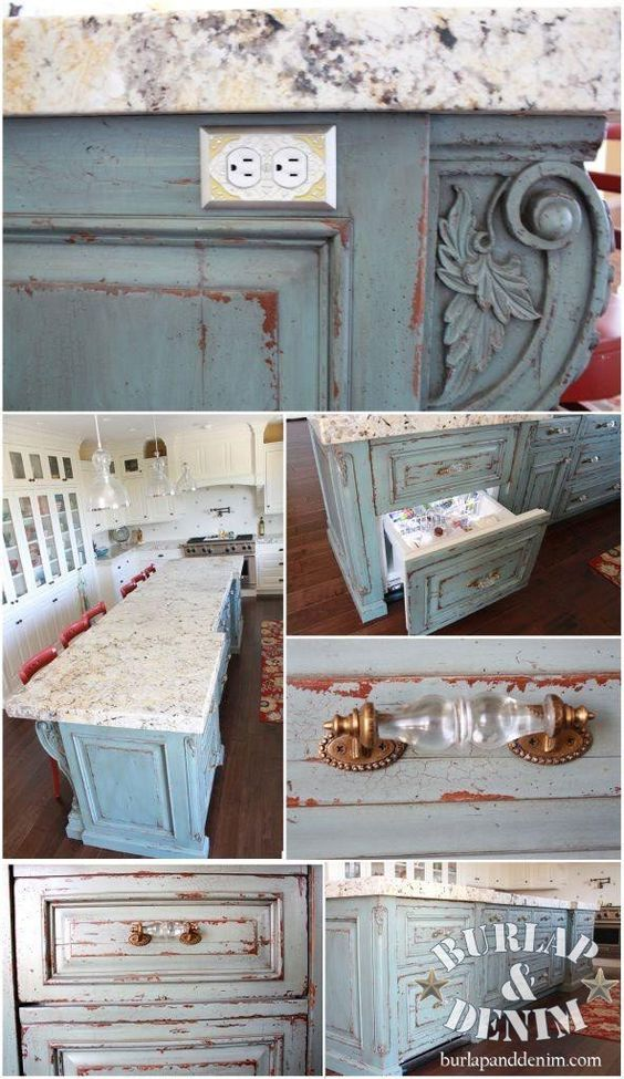 Kitchen island, deep rich blue green paint heavily distressed to