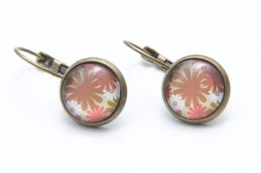 Just Trisha - Ohrstecker/Creolen braun/rosa Blumen - 7€