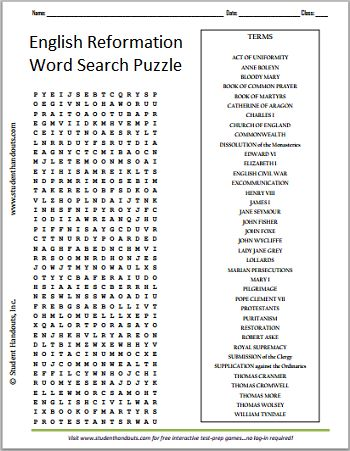 English Protestant Reformation - Free Printable Word Search Puzzle ...