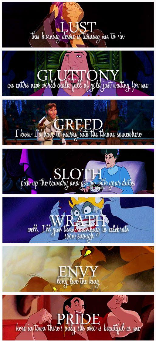 Disney, Disney villains and Seven deadly sins on Pinterest