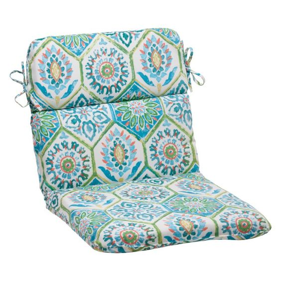 Pillow Perfect Summer Breeze 40.5 x 21 in. Chair Cushion Aqua Blue - 507286