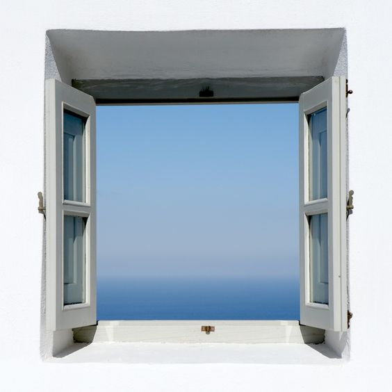 Outdoor window with sapphire Aegean view