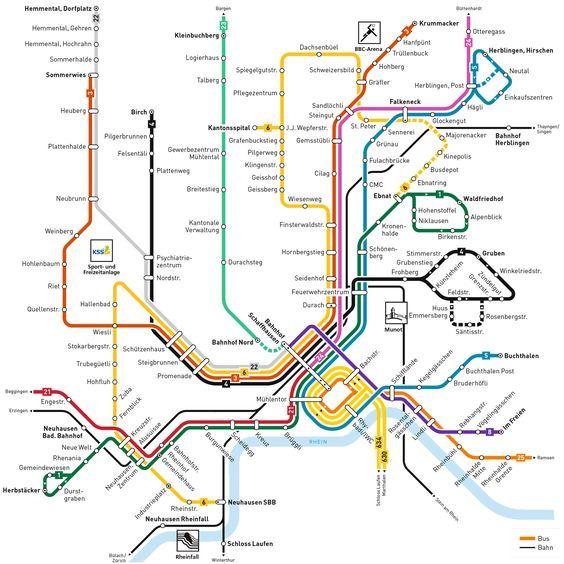Netzplan Verkehrsbetriebe Schaffhausen 2016