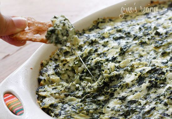 skinny hot spinach and artichoke dip, made with greek yogurt so it's low-fat!