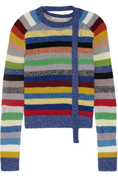 MARC JACOBS Distressed Striped Cashmere Sweater. #marcjacobs #cloth #knitwear