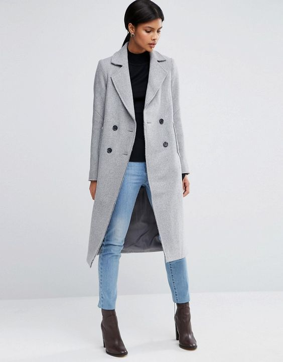 Image 1 of ASOS Wool Blend Coat with Raw Edges and Pocket Detail