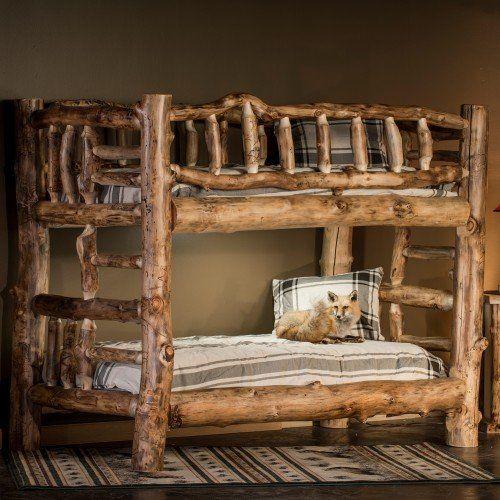 Aspen Deluxe Log Bunk Bed In 2019 Rustic Bunk Beds Bunk Beds Bunk Bed Plans