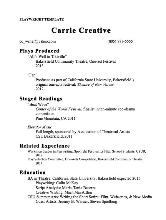 Playwright Resume Template Sample -    resumesdesign - musician resume examples