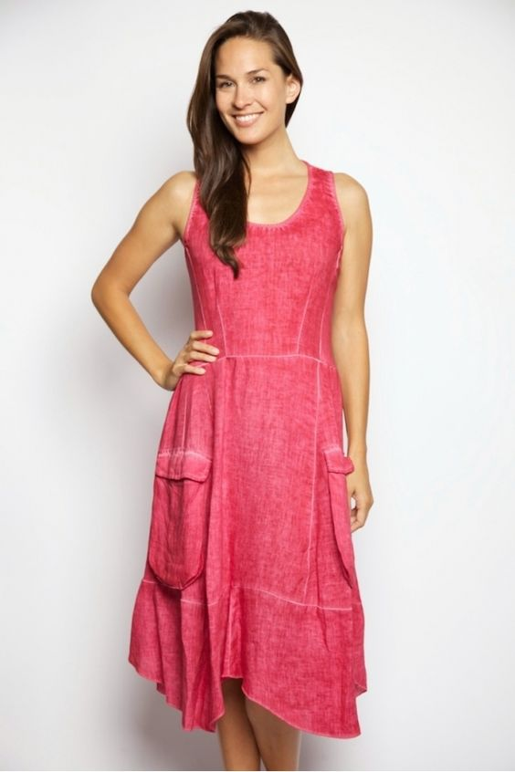 INIZIO linen AYLA-Cargo Pocket Dress. New colors coming in soon!