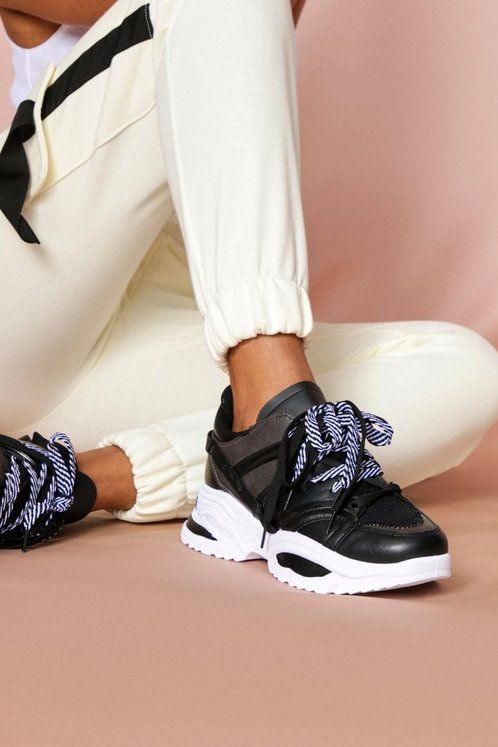 lace up chunky trainers | Misspap UK in