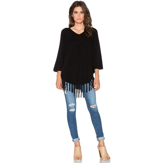 Velvet by Graham & Spencer Trinity Cashmere Classic Poncho Sweaters & Knits featuring polyvore, fashion, clothing, tops, sweaters, sweaters & knits, black knit poncho, poncho sweater, black sweater, black poncho sweater and black poncho