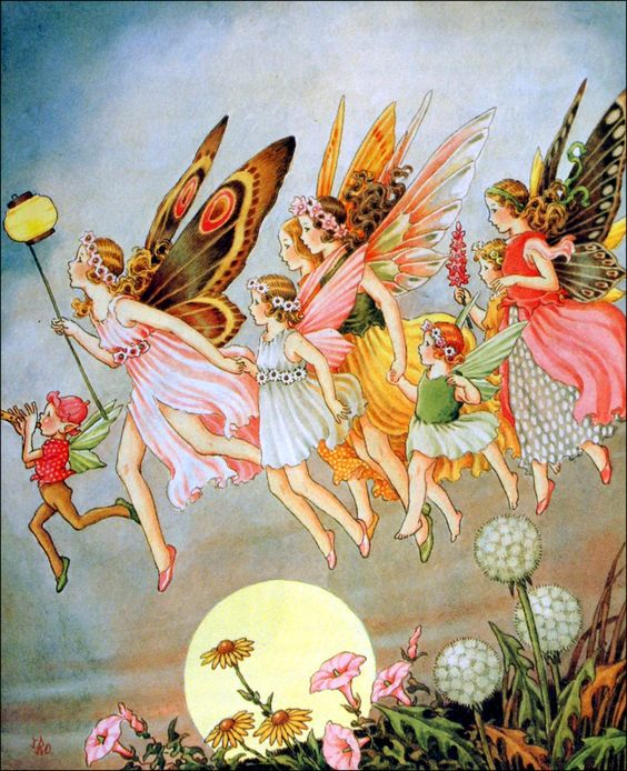 "Art by Ida Rentoul Outhwaite (1908) - ""Then The Fairies Came."""
