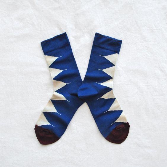 Chaussettes Bonne Maison / Bonne Maison socks - Triangles Bleu drapeau