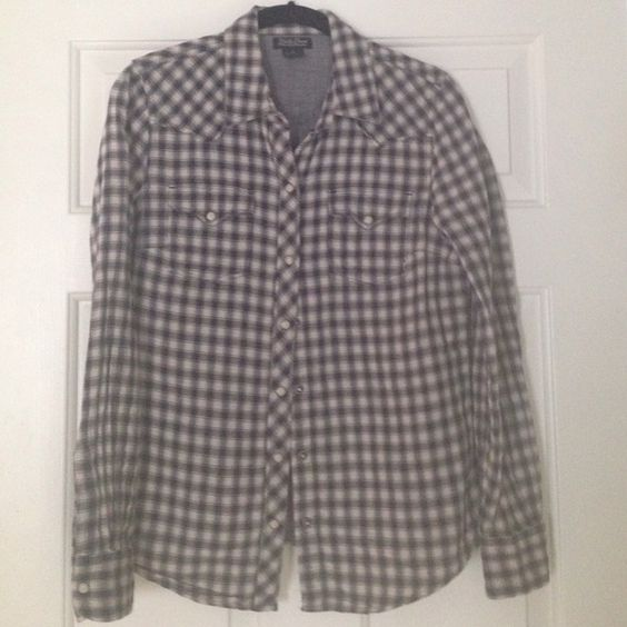 Lucky Brand Blue/Black Plaid Shirt- Sz M Excellent condition. Color is a dark dark blue/almost black plaid with a light gray off color Lucky Brand Tops Button Down Shirts