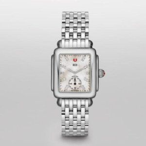 MICHELE Deco 16 Stainless Steel White Diamond Dial Bracelet Watch