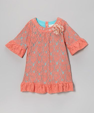 Take a look at this Turquoise & Coral Lace Shift Dress - Toddler & Girls by Trish Scully Child on #zulily today!