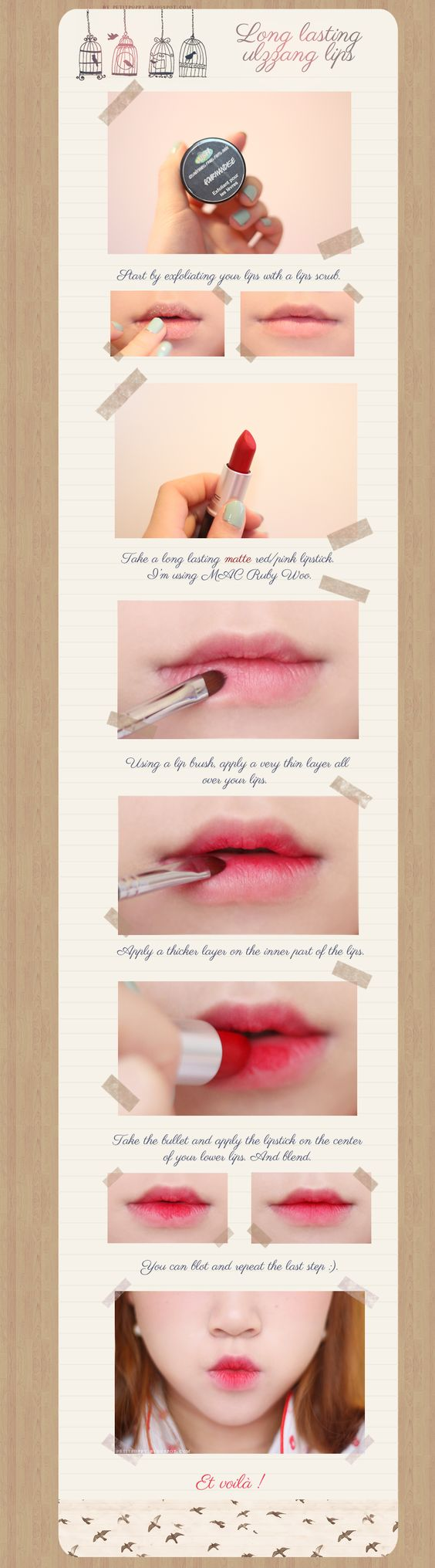 Petit Poppy: Tutorial ~ Long lasting ulzzang lips