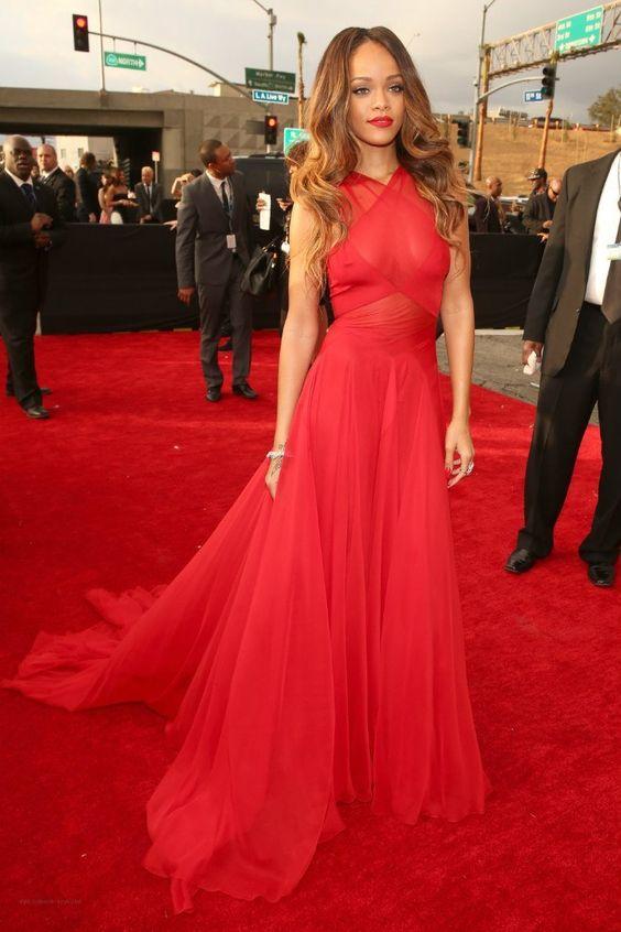 Rihanna, Azzedine Alaia red dress