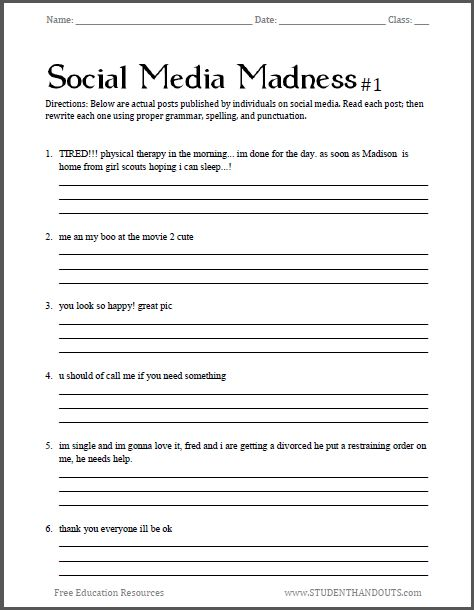 Printables Free Printable Worksheets For High School social media madness grammar worksheet 1 free for high school students pdf