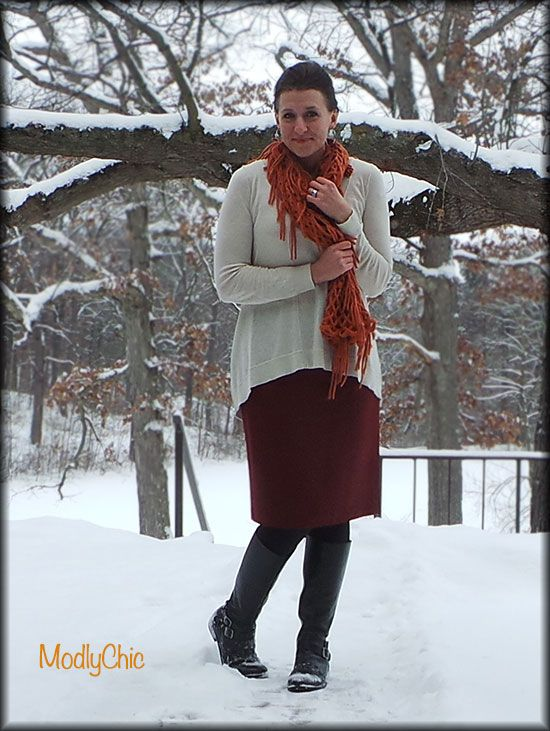 Red pencil skirt, cream over-sized sweater, orange loose knit scarf, black riding boots. #ootd #winter #snow